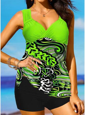 Leaves Print Strap Sexy Boho Swimdresses Swimsuits