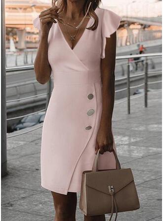 Solid Short Sleeves Ruffle Sleeve Sheath Knee Length Elegant Dresses