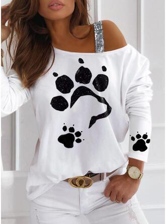 Print Animal Sequins One Shoulder Long Sleeves Dropped Shoulder Casual Blouses