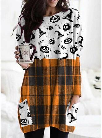 Halloween Print Plaid Round Neck Long Sleeves Sweatshirt