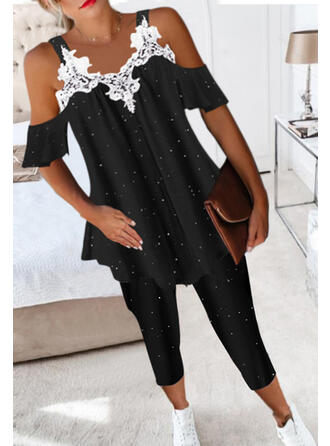 Solid PolkaDot Elegant Casual Plus Size Blouse & Two-Piece Outfits Set
