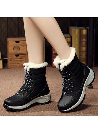 Femmes Toile Talon compensé Compensée Bottes Bottes d'hiver avec Dentelle chaussures