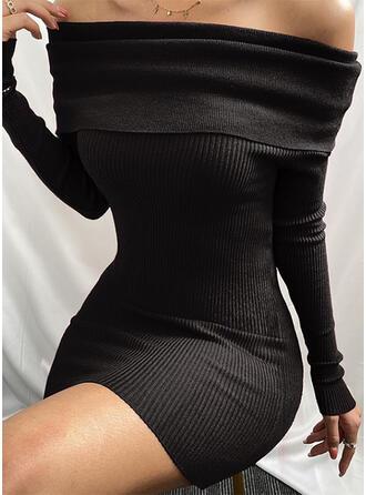 Couleur Unie Manches Longues Moulante Au-dessus Du Genou Petites Robes Noires/Sexy/Décontractée Robes