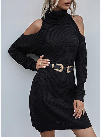 Solid Cold Shoulder Casual Sweater Dress