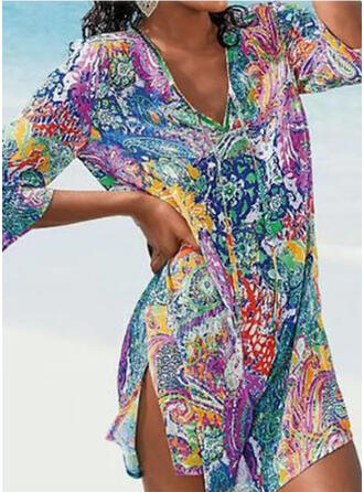 Print V-Neck Vintage Casual Cover-ups Swimsuits