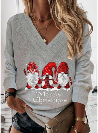 Christmas Print Letter Santa V-Neck Long Sleeves Christmas Sweatshirt