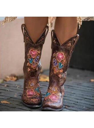 Femmes PU Talon bottier Bottes mi-mollets Bottes cavalières avec Broderie chaussures