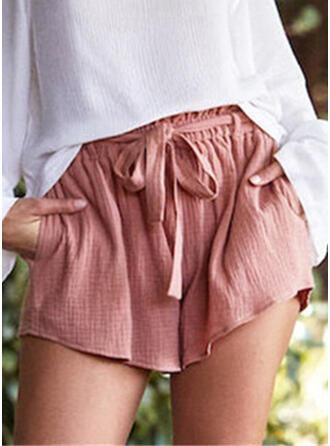 Les poches Froncé Grande taille Au-dessus du genou Boho Décontractée Short
