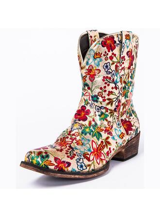 Femmes PU Talon bottier bout rond Bottes cavalières avec Une fleur chaussures