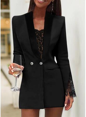 Dentelle/Couleur Unie Manches Longues Moulante Au-dessus Du Genou Petites Robes Noires/Élégante Robes