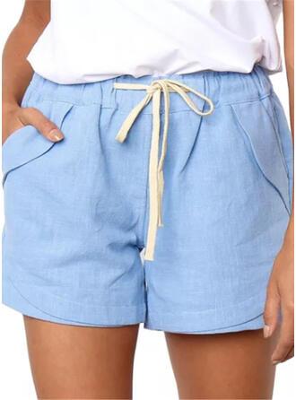 Les poches Froncé Au-dessus du genou Décontractée Sexy Maigre Short