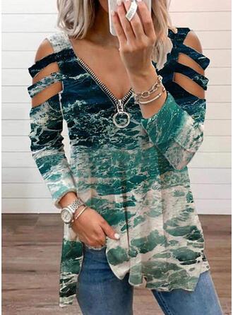 Print Cold Shoulder Long Sleeves T-shirts