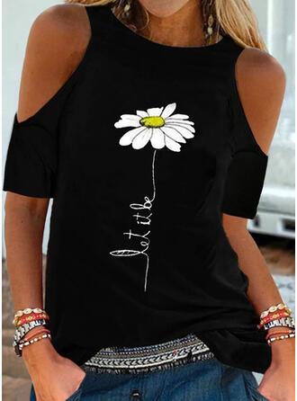 Print Floral Letter Cold Shoulder Short Sleeves Cold Shoulder Sleeve Casual Blouses