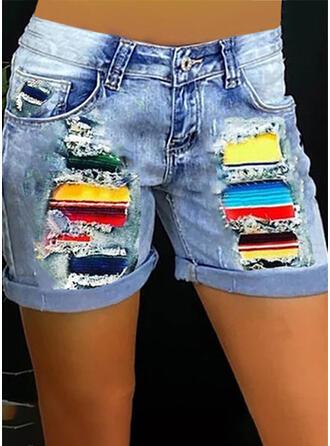 Color Block Print Denim Above Knee Casual Plus Size Stitching Pocket Button Pants Shorts Denim & Jeans