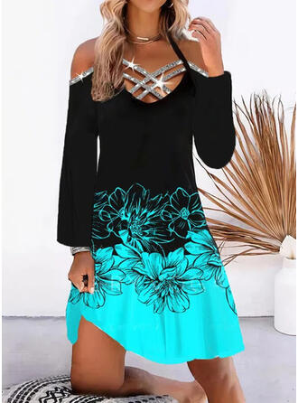 Print/Floral/Color Block Sequins Long Sleeves Cold Shoulder Sleeve Shift Knee Length Casual/Vacation Tunic Dresses