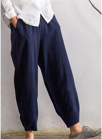 Les poches Froncé Grande taille Longue Boho Décontractée Longue Couleur Unie Pantalon