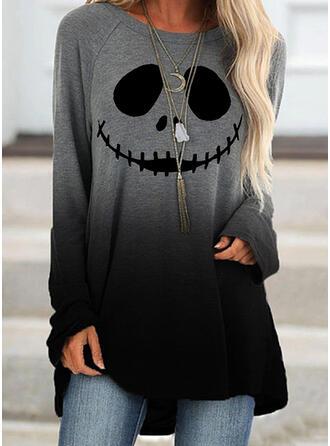 Print Halloween Gradient Round Neck Long Sleeves Sweatshirt