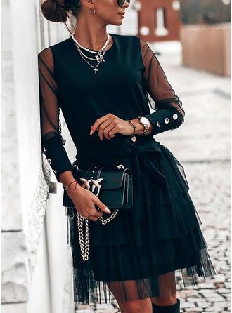 Couleur Unie Manches Longues Trapèze Longueur Genou Petites Robes Noires/Élégante Patineuse Robes