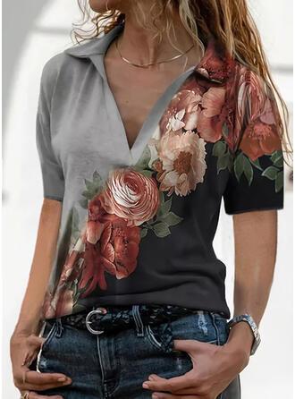 Color Block Floral Print Lapel Short Sleeves T-shirts
