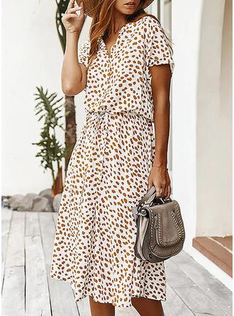 Print Short Sleeves A-line Skater Casual/Elegant Midi Dresses