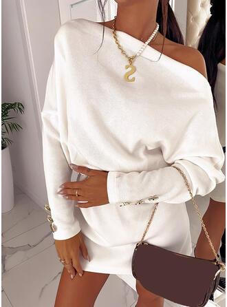 Couleur Unie Manches Longues Droite Au-dessus Du Genou Petites Robes Noires/Décontractée Tunique Robes
