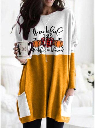 Halloween Print Plaid Letter Round Neck Long Sleeves Sweatshirt