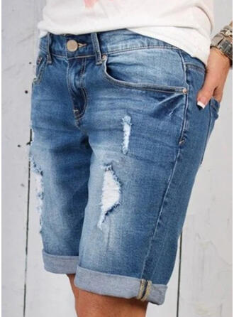 Solid Denim Above Knee Casual Sporty Plus Size Pocket Ripped Button Pants Shorts Denim & Jeans