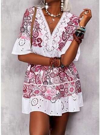 Print 1/2 Sleeves Flare Sleeve Shift Above Knee Casual/Boho Tunic Dresses