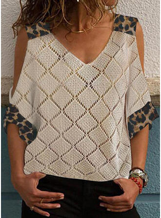 Print Leopard Cold Shoulder Casual Sweaters