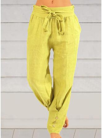 Couleur Unie Grande taille Bowknot Longue Décontractée Plaine Pantalon