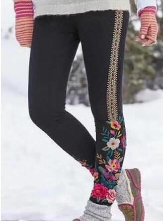 Fleurie Grande taille Longue Décontractée Maigre Pantalon leggings