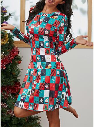 Imprimée Manches Longues Trapèze Longueur Genou Noël/Décontractée Patineuse Robes