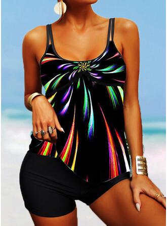 Stripe Splice color Strap U-Neck Fashionable Plus Size Boho Tankinis Swimsuits