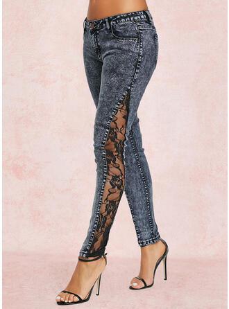 Solid Denim Long Casual Stitching Denim & Jeans