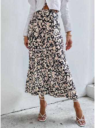Cotton Blends Print Mid-Calf A-Line Skirts