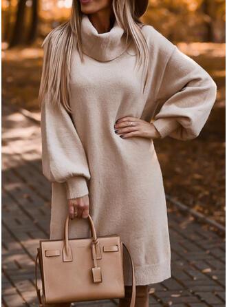 Couleur Unie Manches Longues Droite Longueur Genou Petites Robes Noires/Décontractée Pull Robes