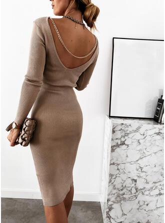 Couleur Unie/Dos nu Manches Longues Moulante Longueur Genou Petites Robes Noires/Sexy Pull Robes