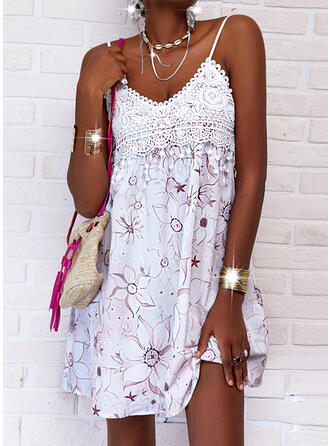 Lace/Print/Floral/Backless Sleeveless Shift Above Knee Casual Slip Dresses