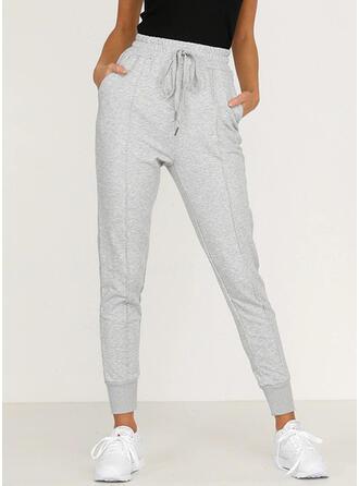Les poches Froncé Grande taille Longue Décontractée Sportif Plaine Pantalon