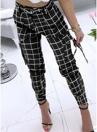 Carreaux Les poches Grande taille Longue Décontractée Élégante Sexy Pantalon