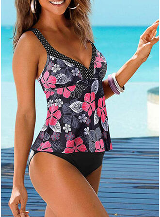 PolkaDot Print Floral Strap V-Neck Casual Boho Tankinis Swimsuits