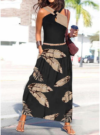 Print/Color Block Sleeveless A-line Skater Casual/Vacation Maxi Dresses
