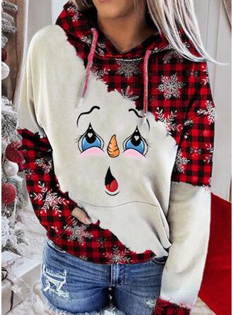 Christmas Print Plaid Long Sleeves Christmas Sweatshirt