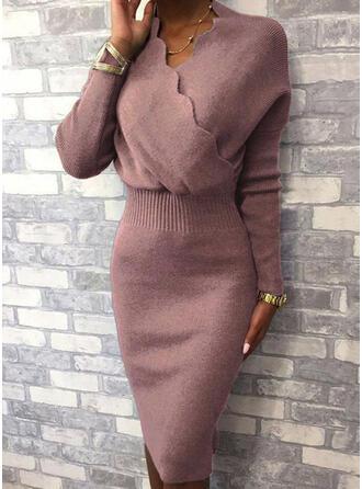 Couleur Unie Manches Longues Moulante Longueur Genou Petites Robes Noires/Élégante Pull Robes