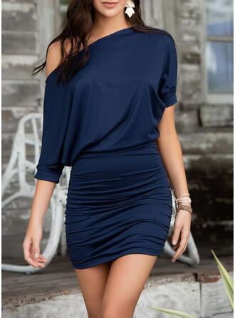 Solid 3/4 Sleeves Bodycon Above Knee Little Black/Casual Dresses