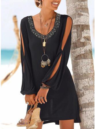 Paillettes/Couleur Unie Manches Longues Droite Au-dessus Du Genou Petites Robes Noires/Vacances Tunique Robes