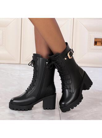 Femmes PU Talon cône Bottes mi-mollets Talons bout rond Martin bottes avec Zip Dentelle Couleur unie chaussures