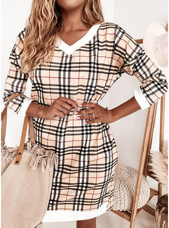 Plaid Long Sleeves Shift Above Knee Casual Tunic Dresses