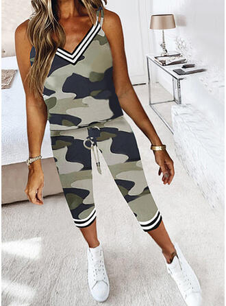Camouflage Striped Casual Plus Size Camisole & Two-Piece Outfits Set