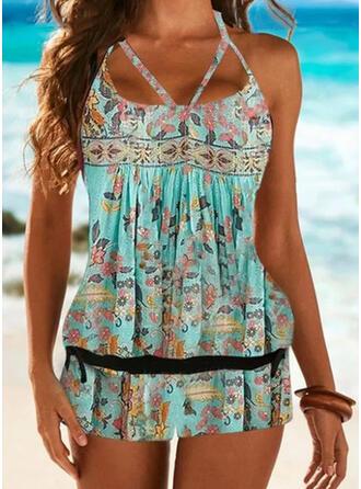 Print Strap U-Neck Plus Size Casual Boho Tankinis Swimsuits